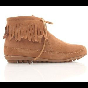 Bucco Atipa Tan Fringed Ankle Booties Size 8